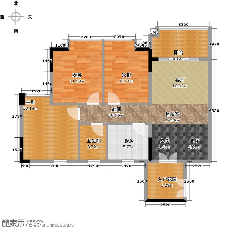 城央御景尚品9栋标准层02单元户型3室1卫1厨
