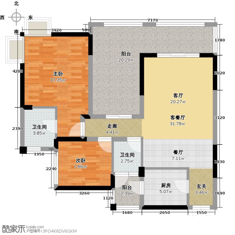 兆甲合阳新城兆甲合㎡新城4号楼C户型2室1厅2卫1厨
