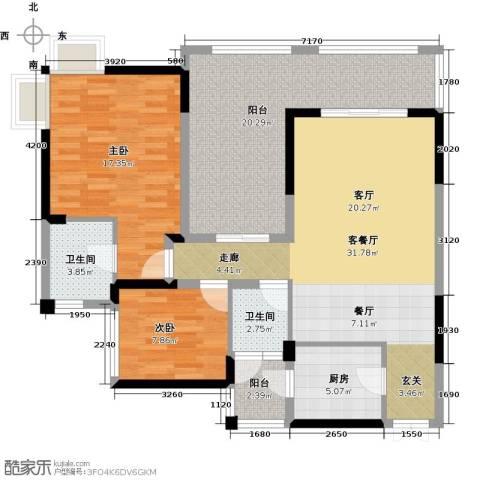 兆甲合阳新城2室1厅2卫1厨91.33㎡户型图