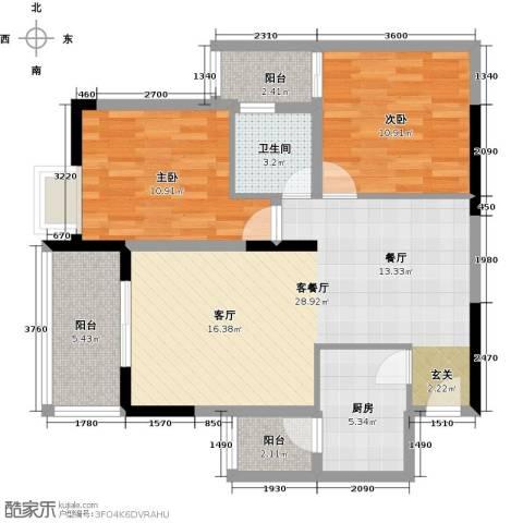 兆甲合阳新城2室1厅1卫1厨74.00㎡户型图