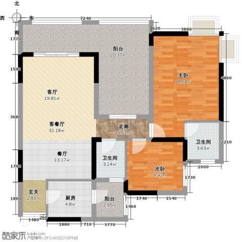 兆甲合阳新城2室1厅2卫1厨94.20㎡户型图