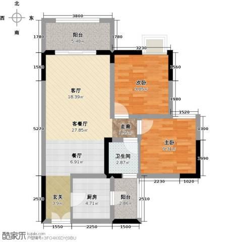 兆甲合阳新城2室1厅1卫1厨69.00㎡户型图