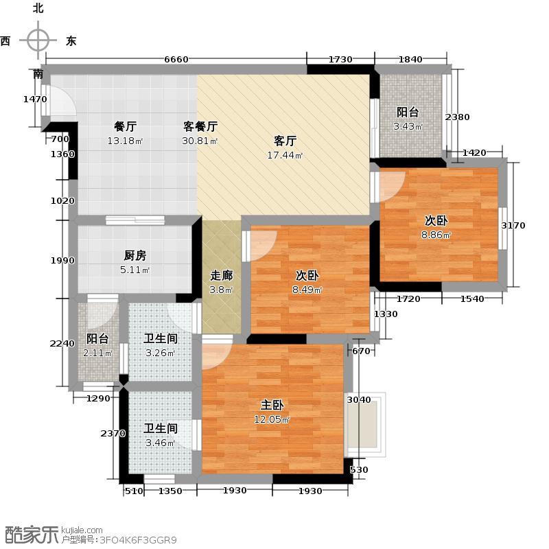 宝嘉花与山户型3室1厅2卫1厨