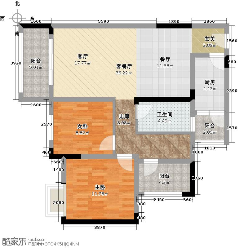 金科廊桥水乡E高层带可变空间户型2室1厅1卫1厨