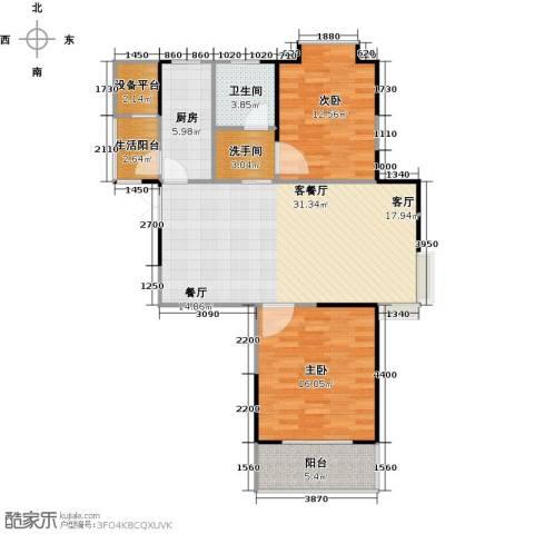 鹏欣一品漫城三期2室1厅1卫1厨94.00㎡户型图