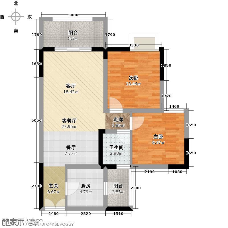 兆甲合阳新城兆甲合㎡新城2号楼C户型2室1厅1卫1厨