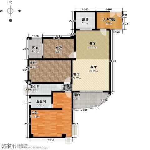 富德居3室1厅2卫1厨117.00㎡户型图