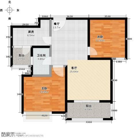 同润蓝美俊庭2室0厅1卫1厨88.00㎡户型图
