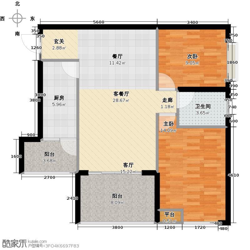 新神风金牛座B4户型2室1厅1卫1厨