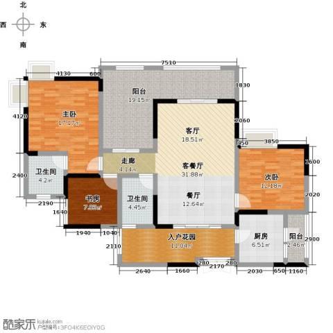 兆甲合阳新城3室1厅2卫1厨116.08㎡户型图