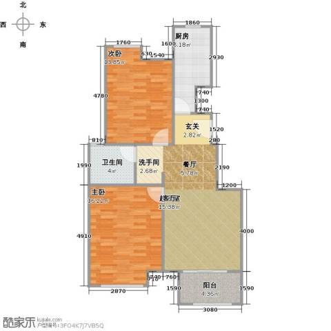 上坤乐城2室0厅1卫1厨75.00㎡户型图