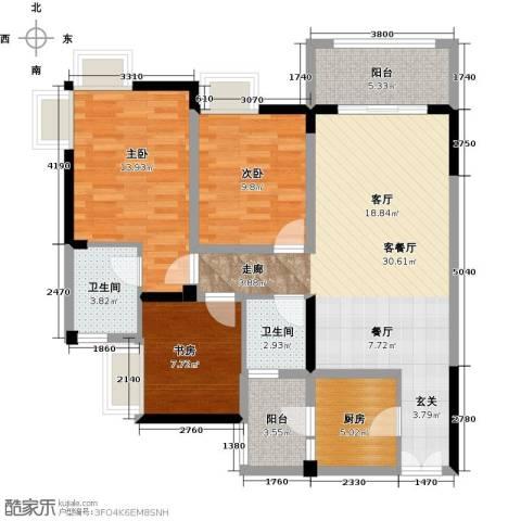 兆甲合阳新城3室1厅2卫1厨88.00㎡户型图