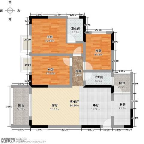 宝嘉花与山3室1厅2卫1厨105.00㎡户型图