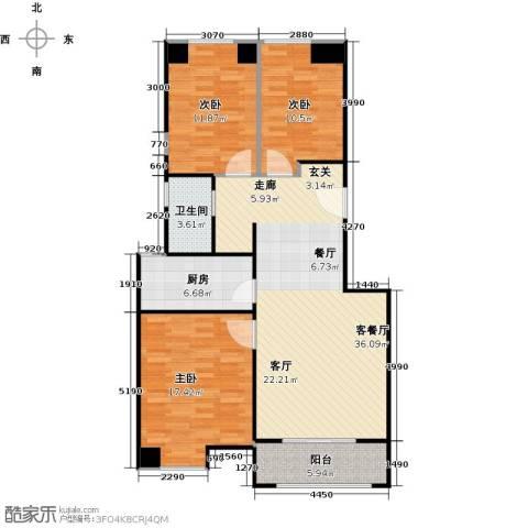 保利叶之林3室1厅1卫1厨103.00㎡户型图