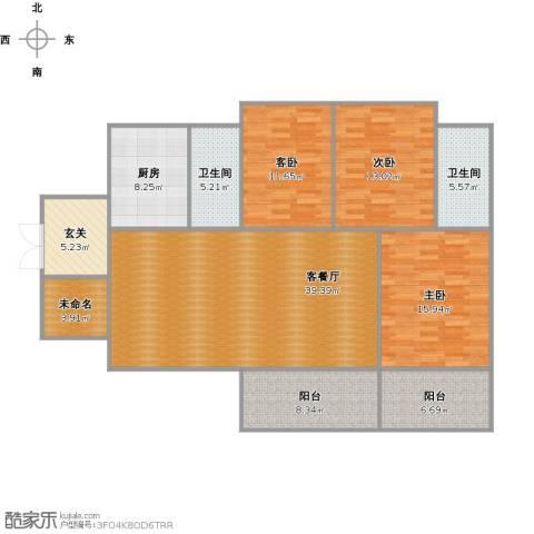 华美美立方3室1厅2卫1厨165.00㎡户型图