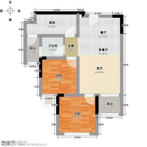 宝嘉花与山2室1厅1卫1厨69.00㎡户型图