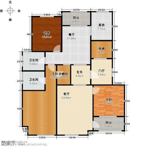 上河湾3室2厅2卫1厨148.00㎡户型图