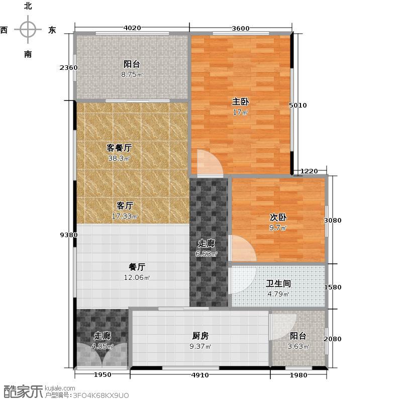 兰亭国际名园1座F/G7-14/39-44层10699-户型2室1厅1卫1厨
