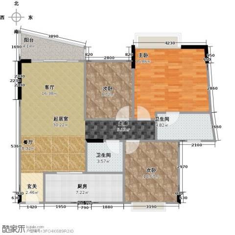 蔚蓝星湖二期3室0厅2卫1厨116.00㎡户型图
