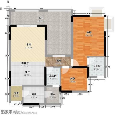 兆甲合阳新城2室1厅2卫1厨93.37㎡户型图