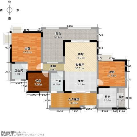 兆甲合阳新城3室1厅2卫1厨115.00㎡户型图