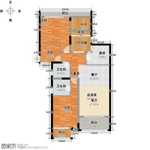 雅居乐国际花园二期3室0厅2卫1厨111.05㎡户型图
