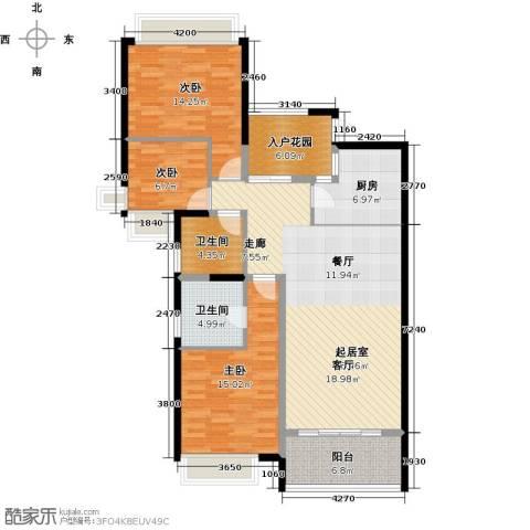 雅居乐国际花园二期3室0厅2卫1厨106.00㎡户型图