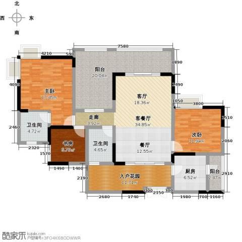 兆甲合阳新城3室1厅2卫1厨121.09㎡户型图
