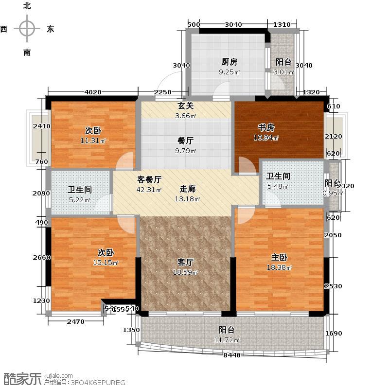 庄士映蝶蓝湾二期K栋02户型4室1厅2卫1厨