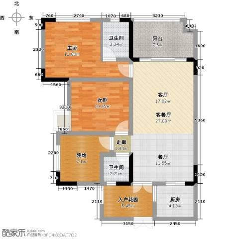 锴泽四季花城2室1厅2卫1厨99.00㎡户型图