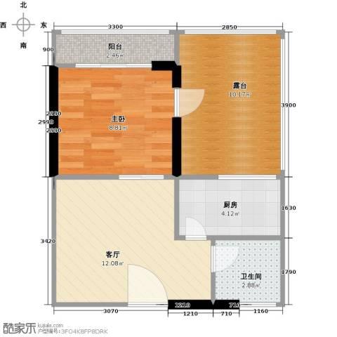 城市风景三期1室1厅1卫1厨56.00㎡户型图