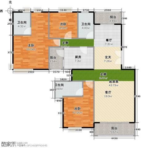 金色华庭(新中银二期)3室0厅3卫1厨158.00㎡户型图