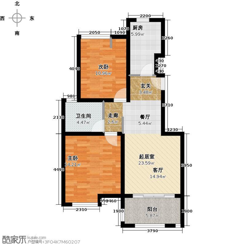 绿地�香公馆B2户型2室1卫1厨
