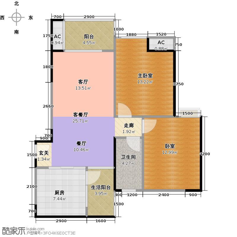 中海花城湾A5栋05单元户型1厅1卫1厨
