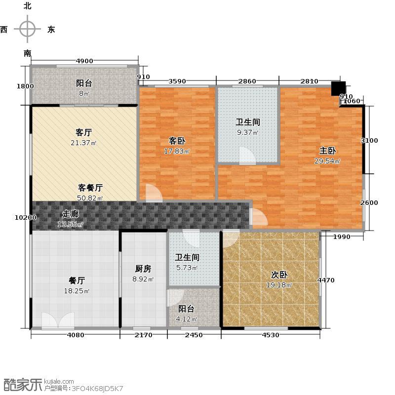 兰亭国际名园2座H户型3室1厅2卫1厨