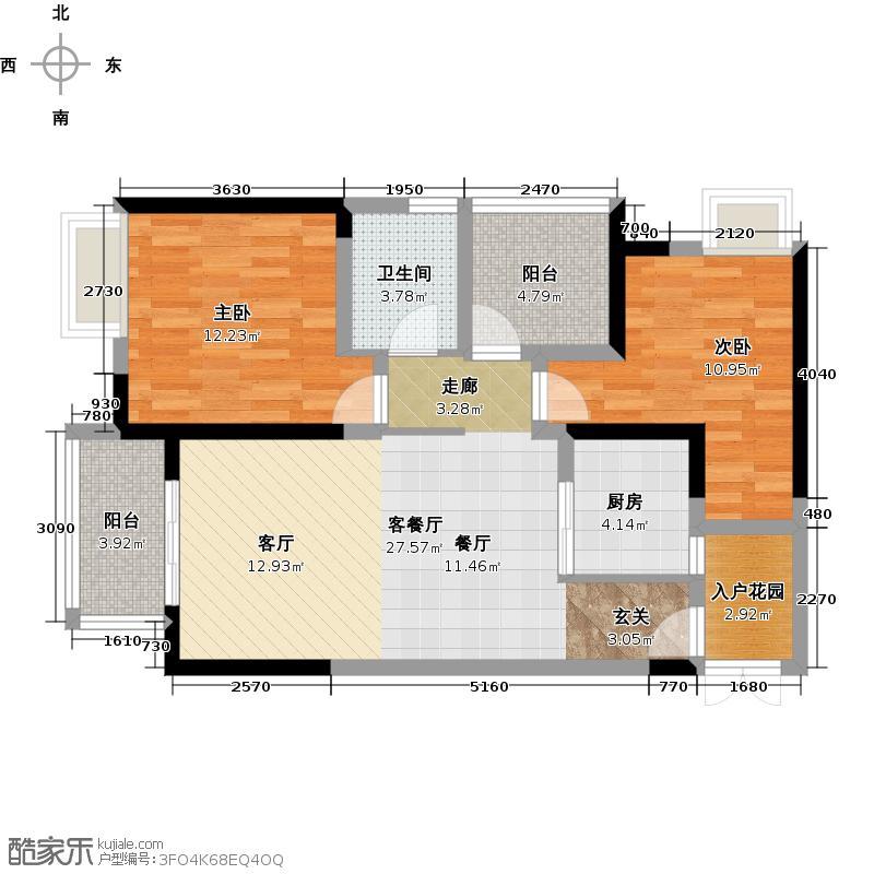 金融街融景城尚峰组团C1户型2室1厅1卫1厨