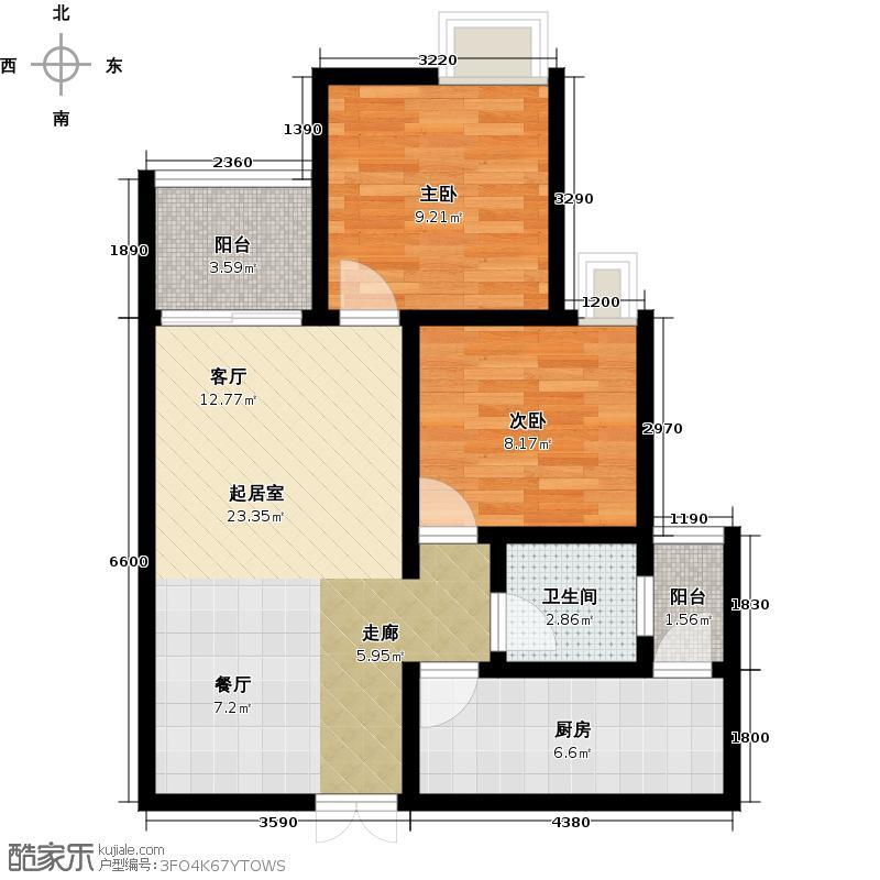千山米兰郡二期5号楼E户型2室1卫1厨