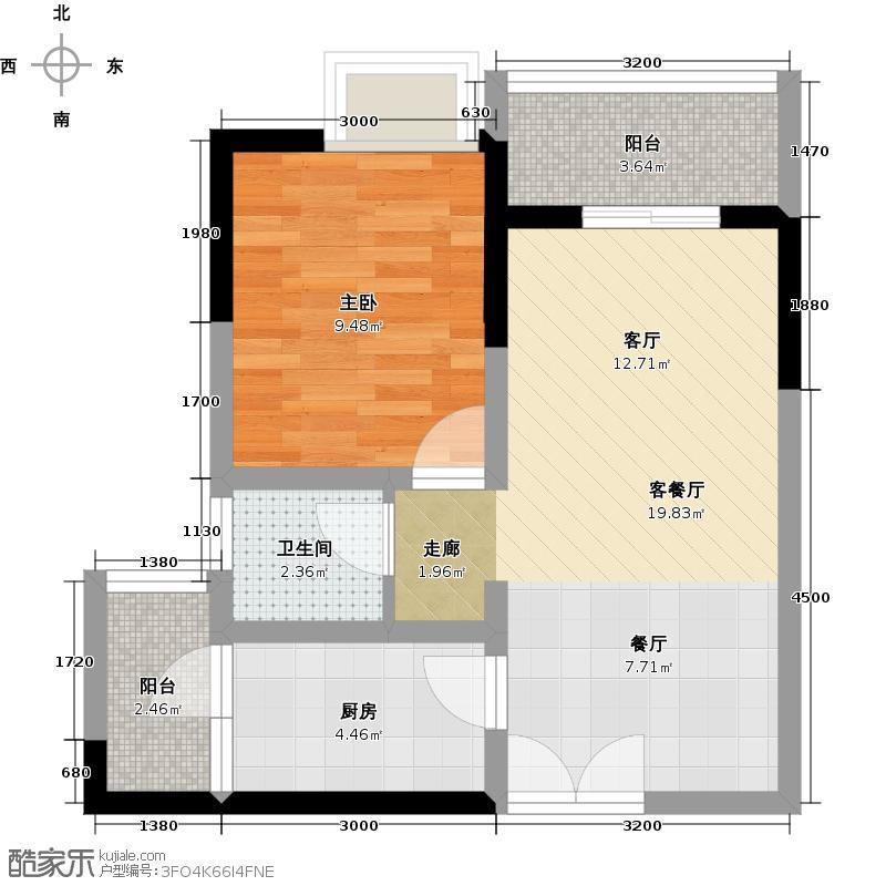 金融街融景城尚峰组团C3户型1室1厅1卫1厨