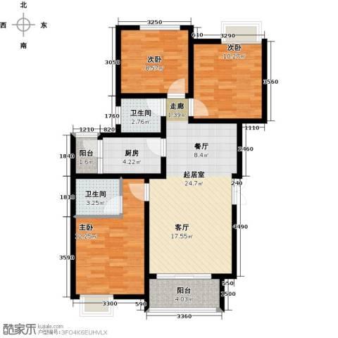 千山米兰郡3室0厅2卫1厨79.00㎡户型图