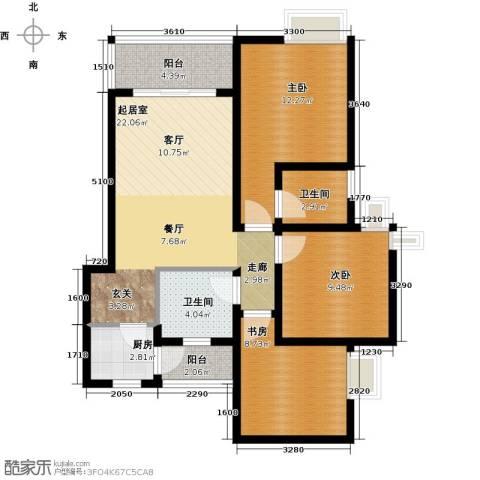 千山米兰郡3室0厅2卫1厨76.00㎡户型图