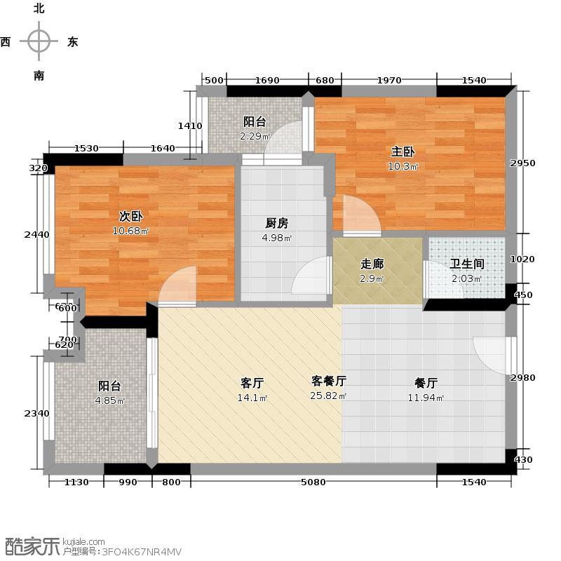 龙湖U城天街1-3号楼B1(标准层)户型2室1厅1卫1厨