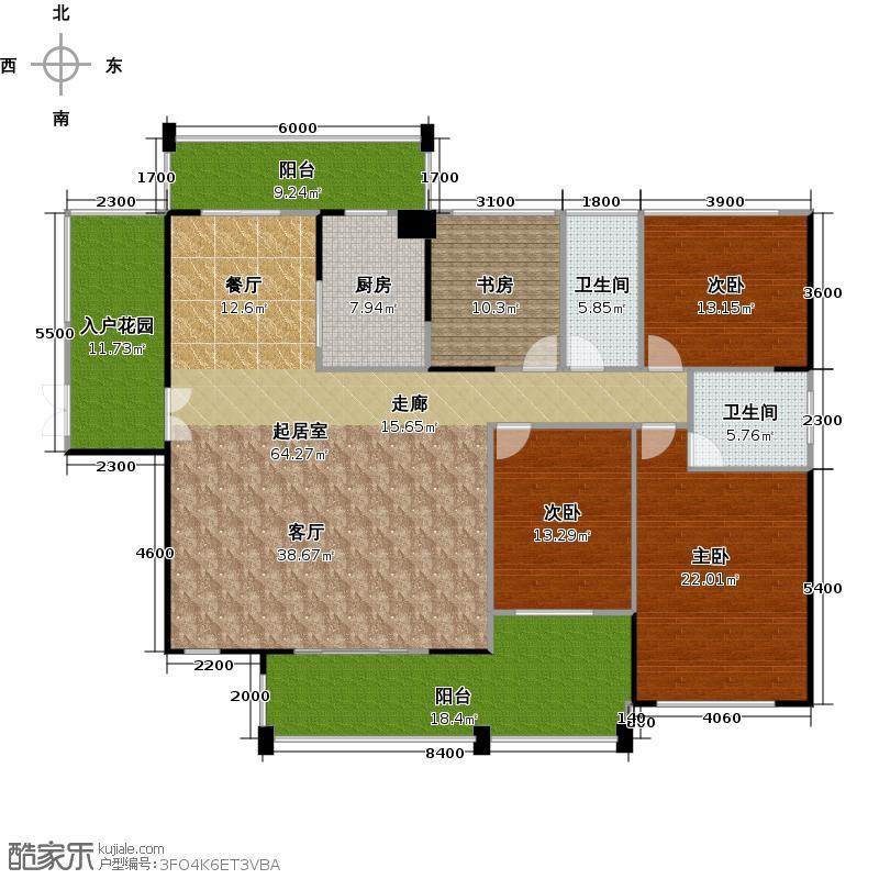 卓弘高尔夫雅苑5号楼B户型4室2卫1厨