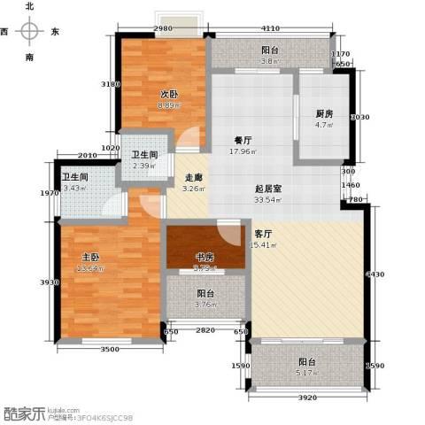 奥园水云间3室0厅2卫1厨93.00㎡户型图