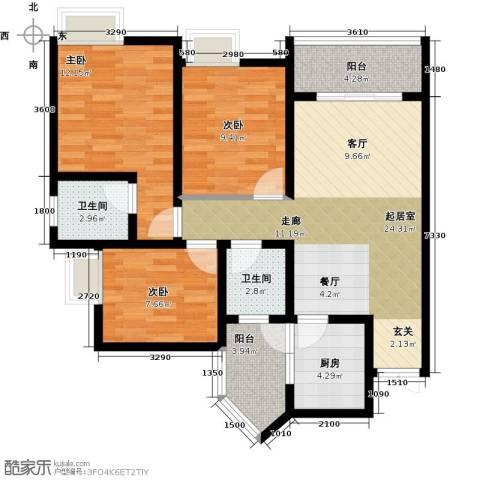 千山米兰郡3室0厅2卫1厨78.00㎡户型图