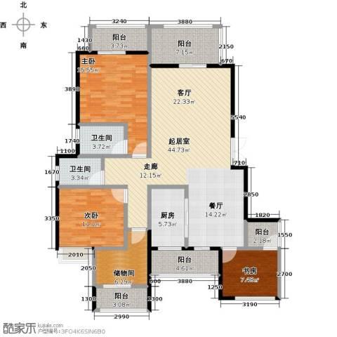 奥园水云间3室0厅2卫1厨129.00㎡户型图