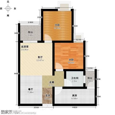 千山米兰郡2室0厅1卫1厨61.00㎡户型图