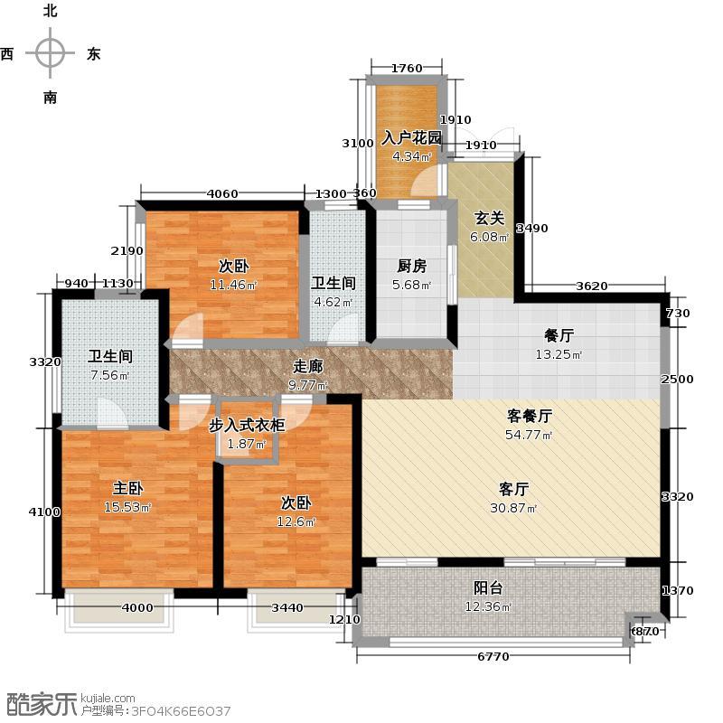 金融街融景城T4-A双卫带可变阳光书房户型3室1厅2卫1厨