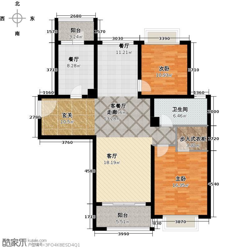 凯德莲公馆B栋A2户型2室2厅1卫