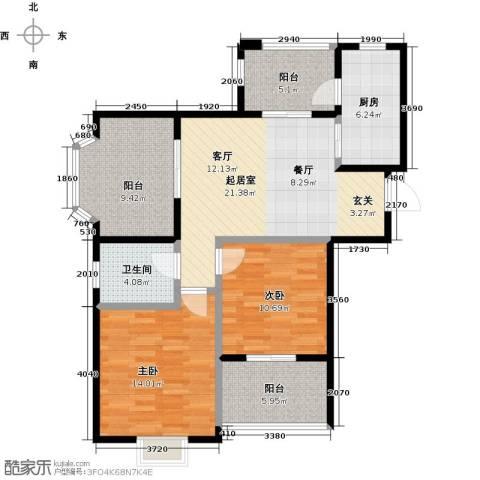 恒文星尚湾2室0厅1卫1厨86.00㎡户型图