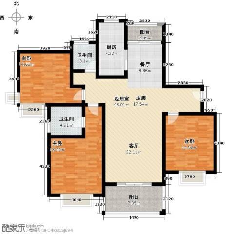 三湘森林海尚3室0厅2卫1厨139.00㎡户型图